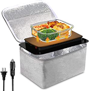 Food Warming Tote for car and home, 12V/110V Portable Personal Oven with Tableware Bag, Mini Electric Heated Lunch Box Food Heater for Meals Reheating - Perfect for Office, Travel, Potlucks