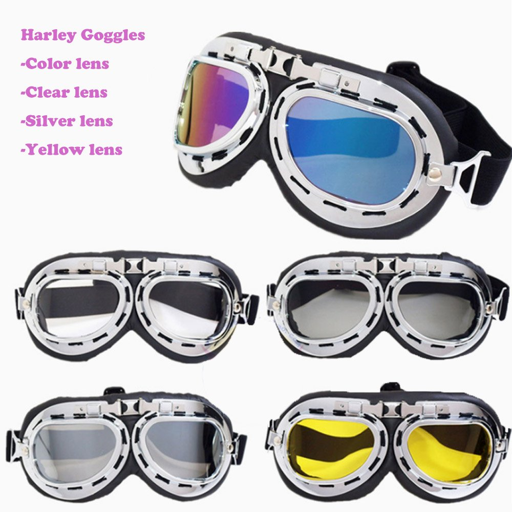Vintage Motorcycle Goggles, Anti-UV Adjustable Motorcycle Glasses Motocross Pilot Scooter Goggles Harley for Kids, Men and Women (Yellow)