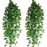 XiaZ 造花 葉 グリーン インテリア 壁飾り フェイクグリーン 人工観葉植物 壁掛け ホーム オフィス ベランダ ガーデンパーティー装飾 24本入り 大容量 アイビー 枯れない