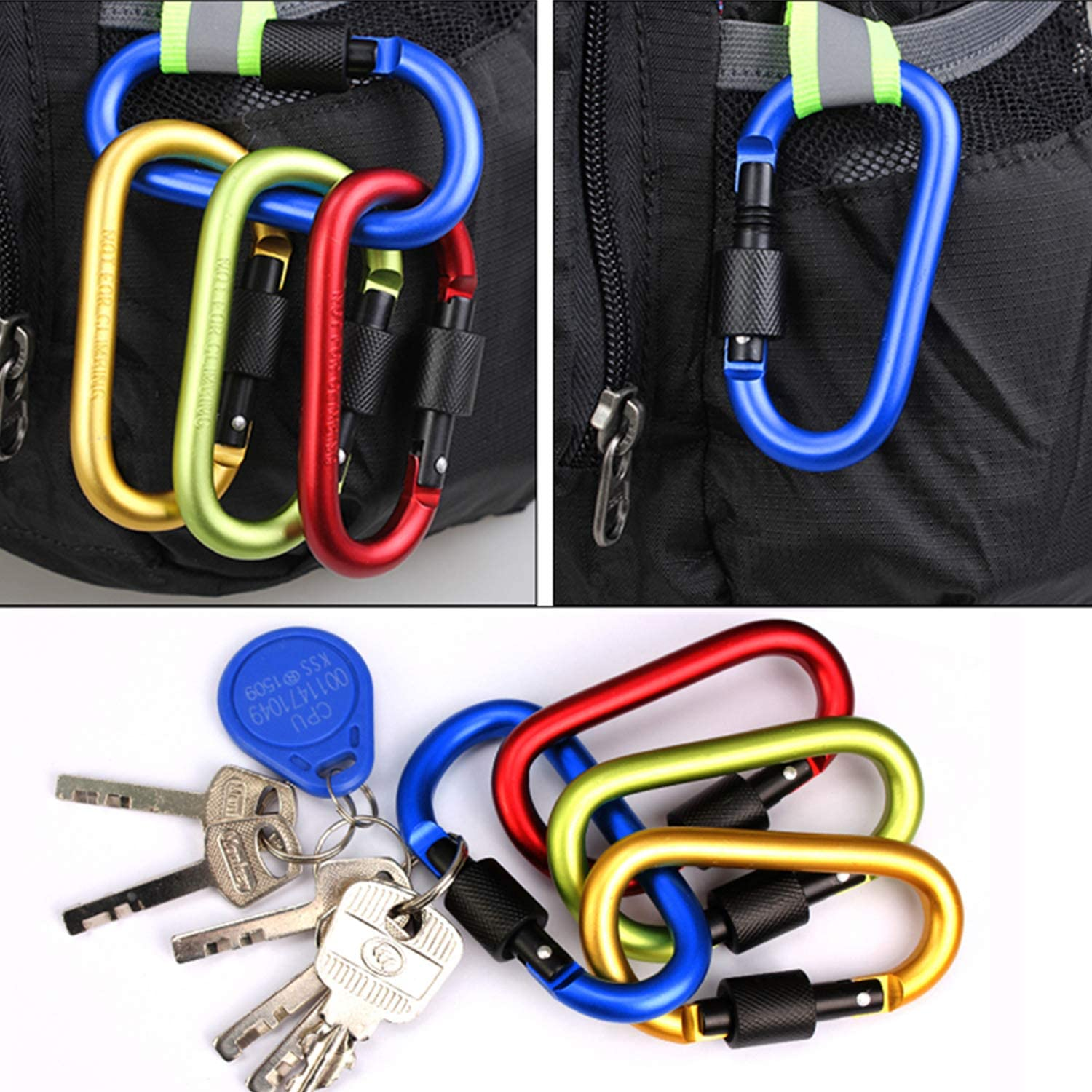 Traveling Improved Durable Spring 7 Packs Fishing Camping Hiking Rv WAKUSEI Carabiner Clips Hook for Home