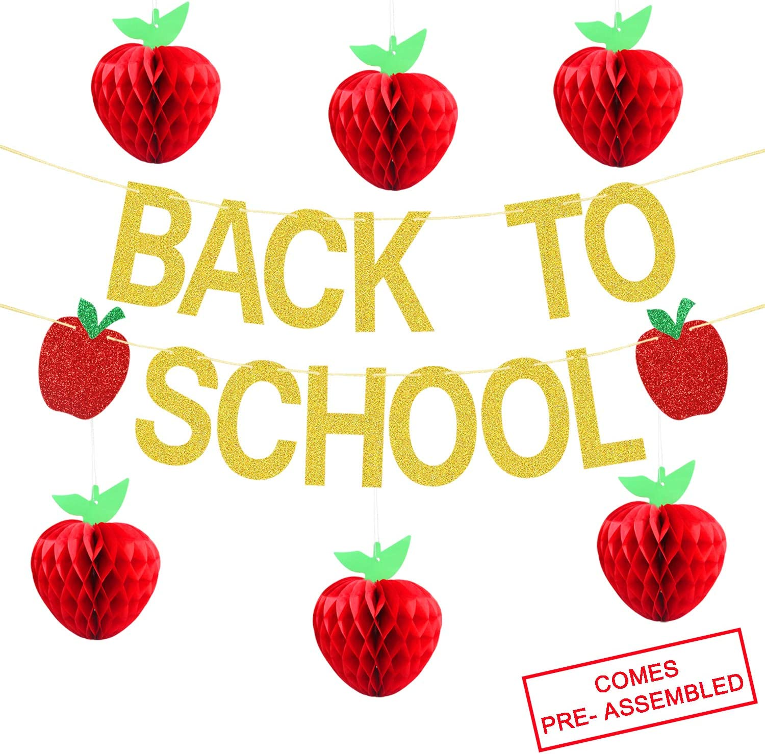 Back To School Banner Gold Glitter -Back to School Party Decorations Supplies -First Day of School Banner | Honeycomb Tissue Paper Apple Hanging Decorations -School Classroom Office Hanging Decor Sign