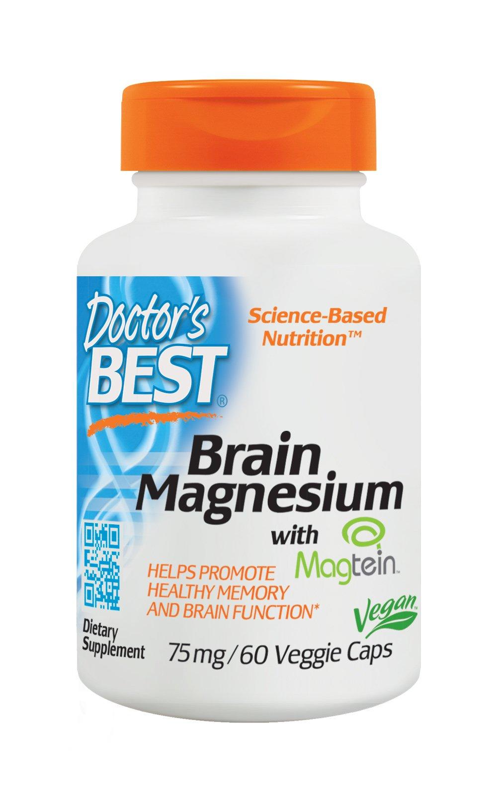 Doctor's Best Brain Magnesium, Non-GMO, Vegan, Gluten Free, 75 mg, 60 Veggie Caps