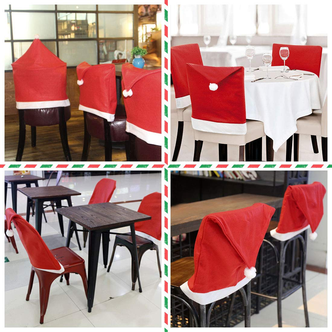 Christmas Chair Covers Set of 6 Jacriah Red Hat Chair Sets Decorations 20 inch24 inch