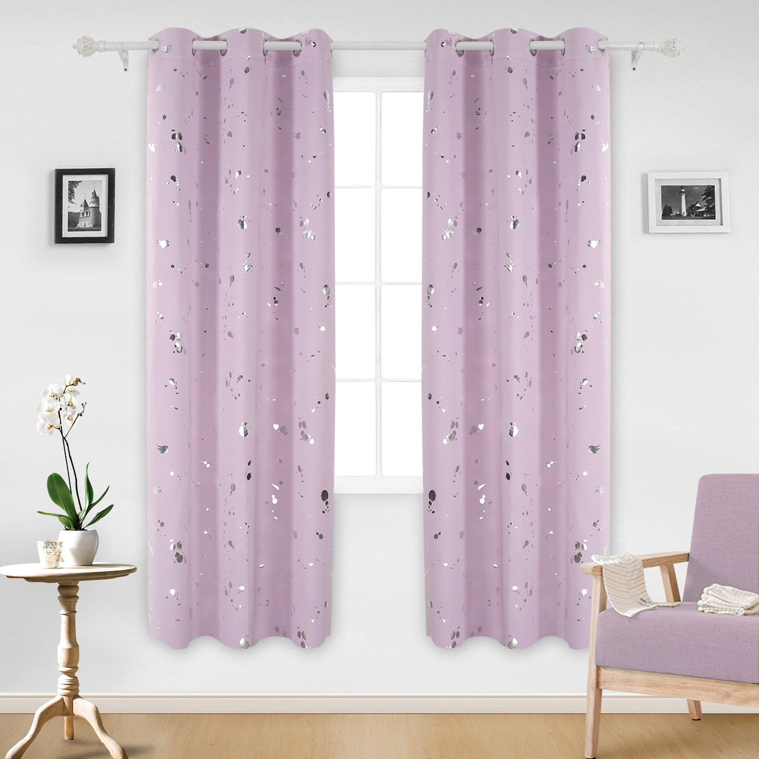 Deconovo Silver Dots Printed Blackout Grommet Curtains Pink Lavender Blackout Window Curtains for Girls Room