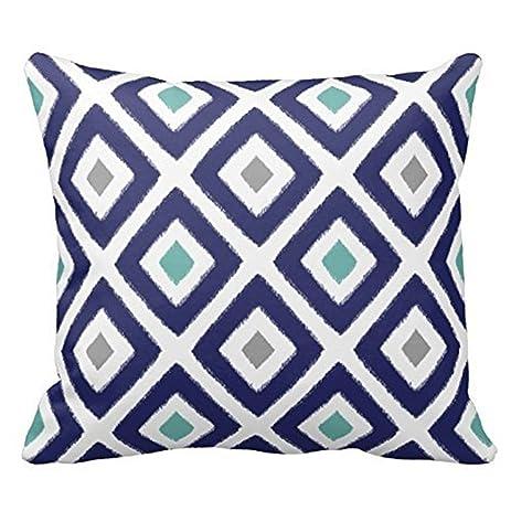 Navy Blue Aqua and Grey Diamond Pattern Design Decorative Throw Pillow Case Cover Square 18 X