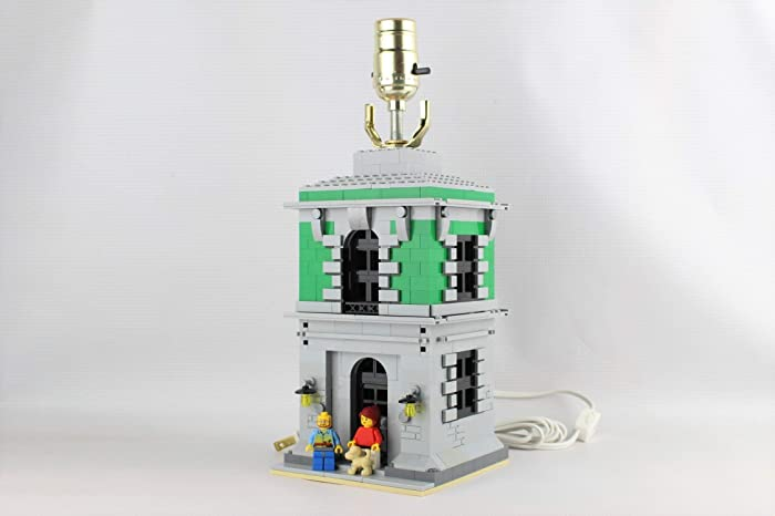 Amazon com: Green Kids Bedroom Lamp made of LEGO bricks City Town
