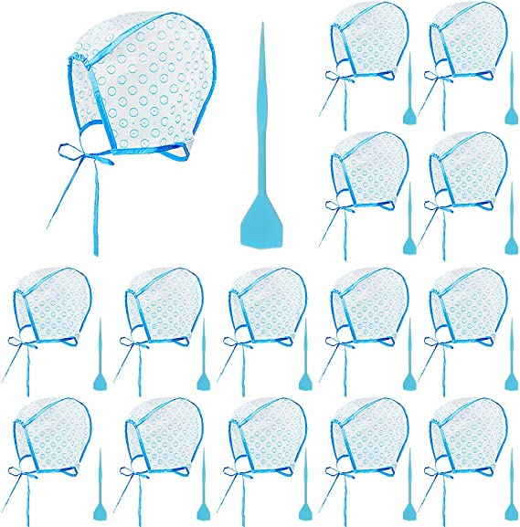15 Piezas de Gorro de Tinte, Gorro de Peluquería Desechable Sombrero para Teñir el Pelo para Colorear el Cabello Incluye Aguja de Gancho de Plástico