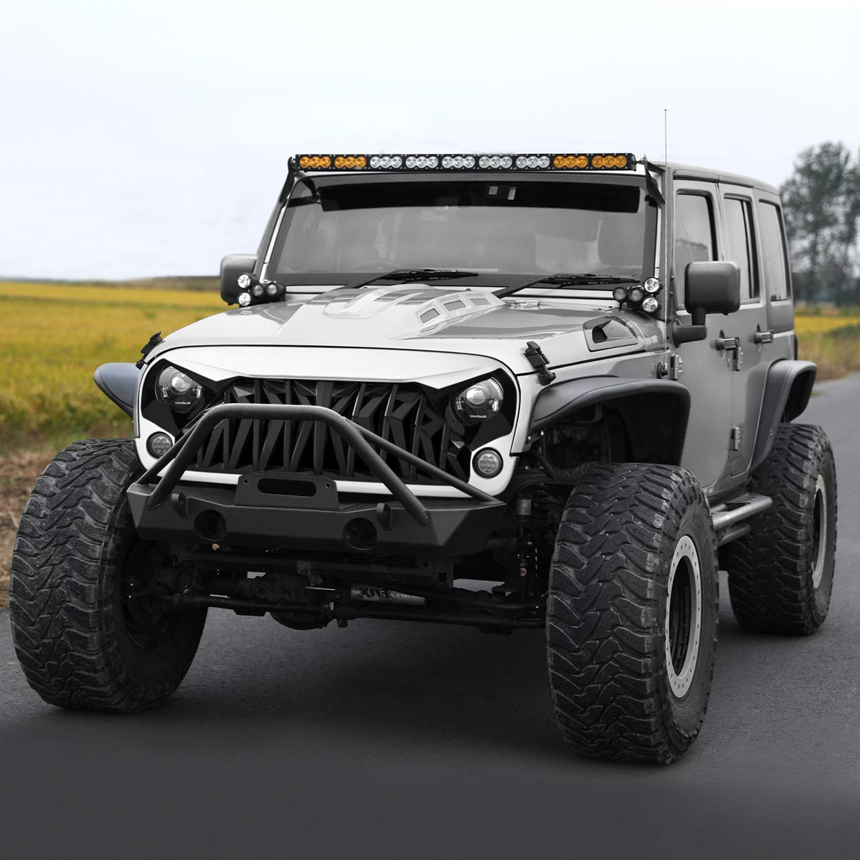 Allinoneparts White /& Black Front Shark Grille for Jeep Wrangler Rubicon Sahara Sport JK JKU 2007-2018 ABS
