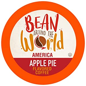 Bean Around The World Flavored Coffee Compatible With 2.0 Keurig K Cup Brewers, Apple Pie, 40 Count (Pack of 1)