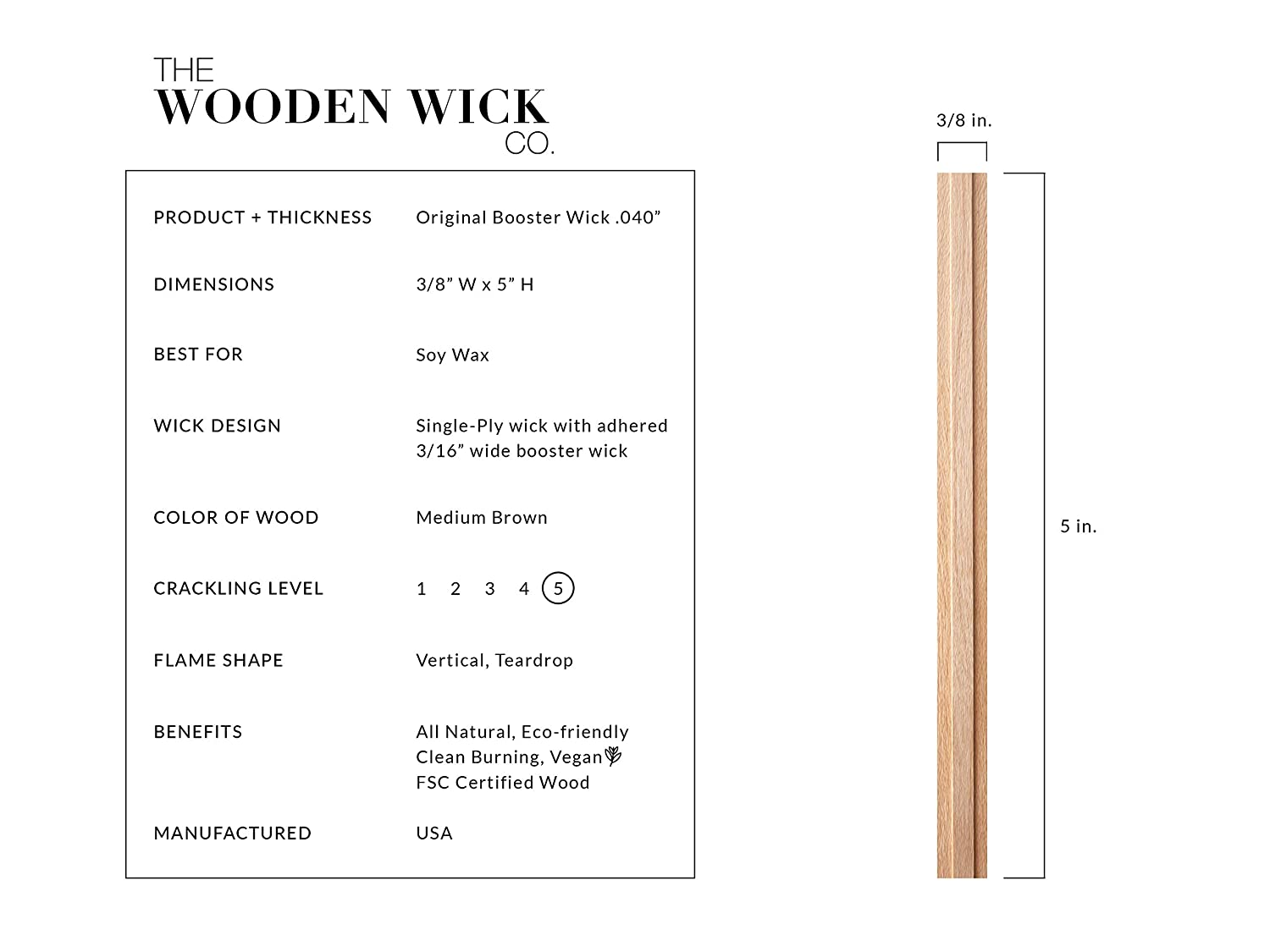 5 Inch Candle Wicks The Wooden Wick Co The Original Booster Wick .04 for Soy Wax Candles with Jar Diameter 2.5-3 Inch Authentic Wood Wick Candle Making Supplies with Metal Stand