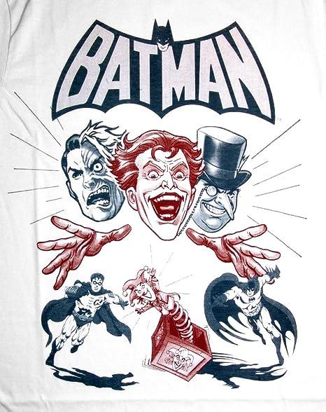 Estuche de maquillaje de estilo retro para hombre T-Shirt Batman villanos Colour blanco talla M: Amazon.es: Deportes y aire libre