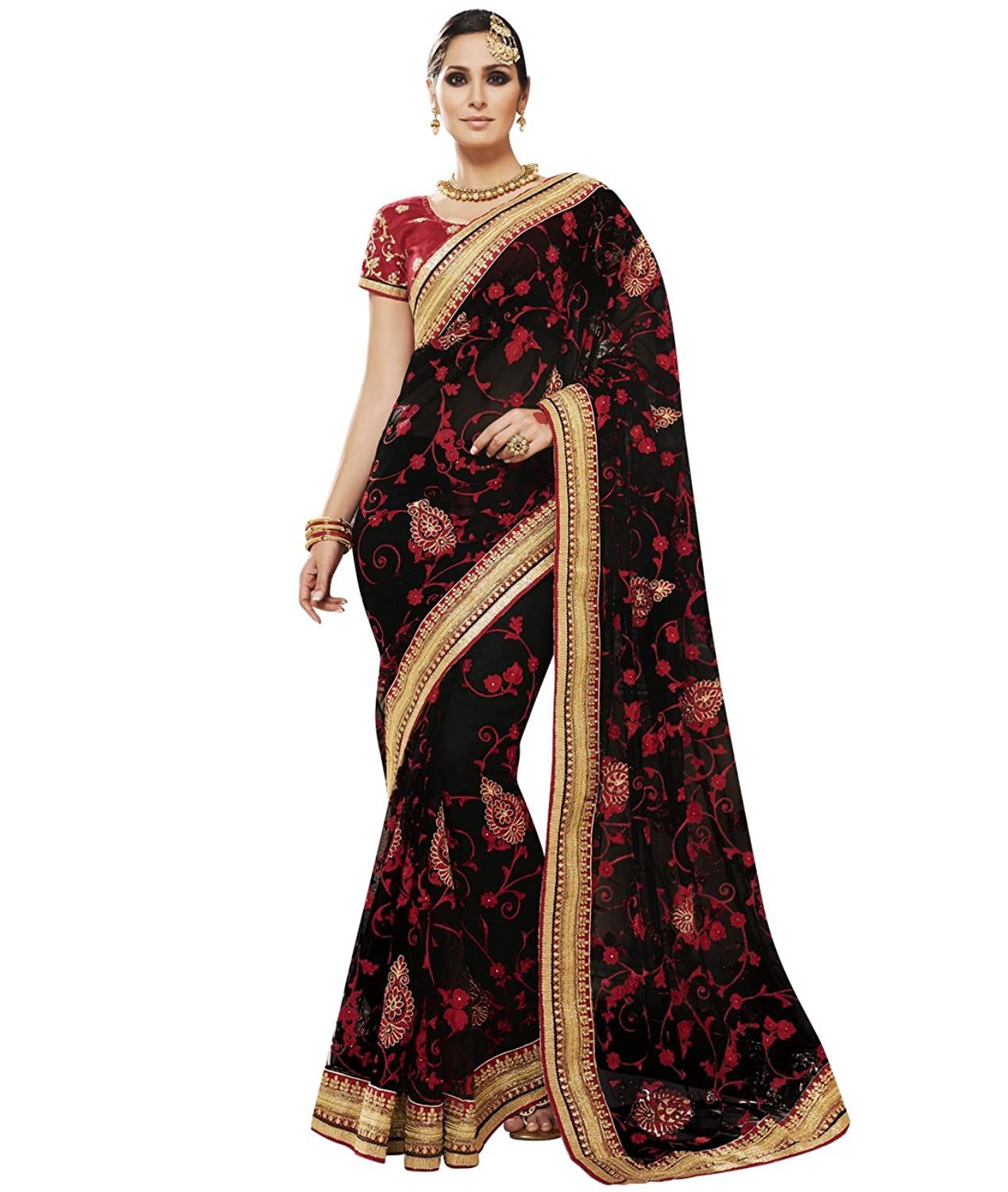 Indian Ethnic Faux Georgette Black Bridal and Wedding Saree