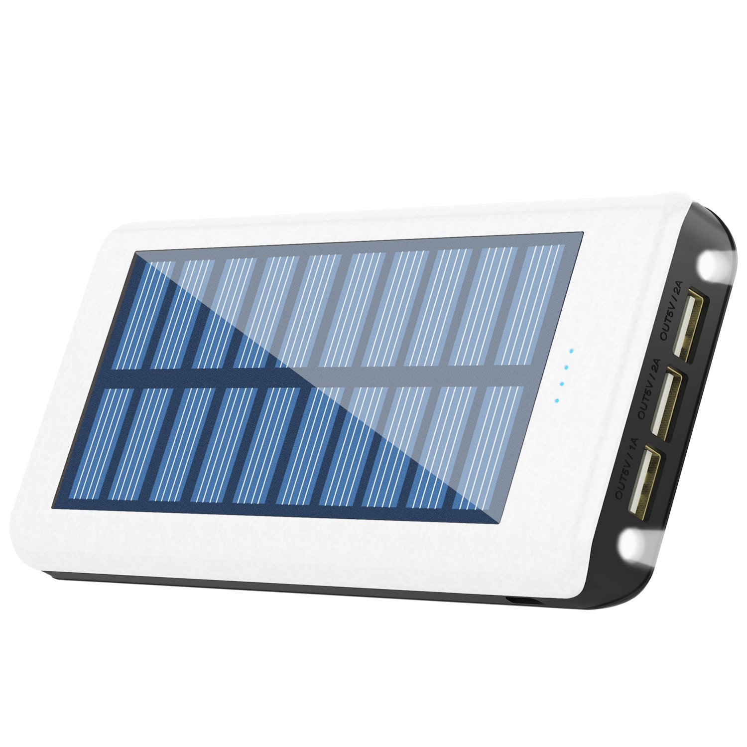 HuaF Solar Charger 24000mah Portable Charger Power Bank 3 USB Ports(1A+2A+2A) Backup Battery for iPhone iPad Samsung HTC Cellphones Tablet and More HF