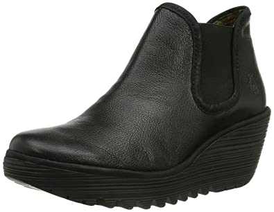 72919702 Fly London Yat Black Leather Womens Wedge Ankle Boots: Amazon.co.uk ...