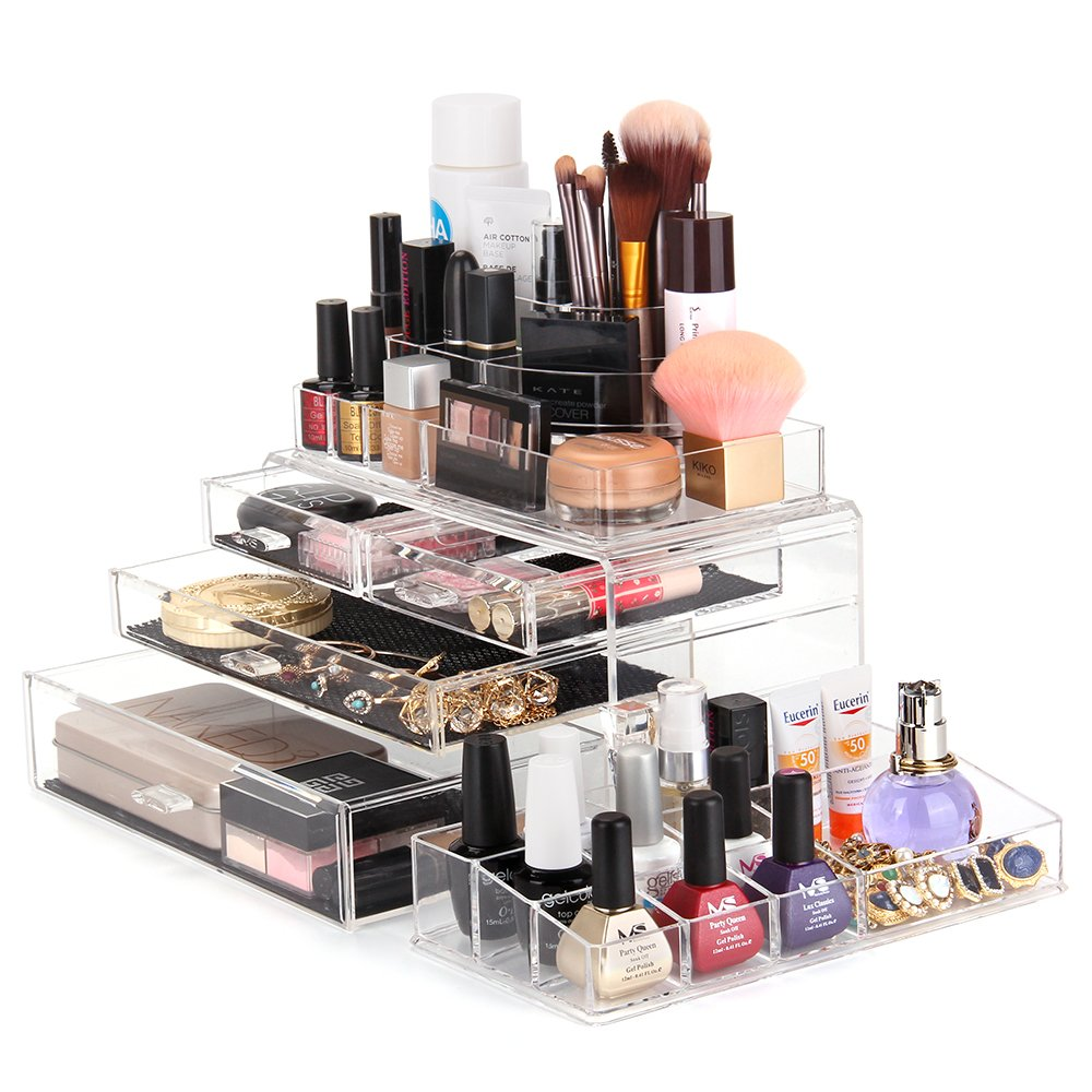 Amazon.com: MelodySusie Large Acrylic Makeup Organizer - A Set of 3 Pieces  Transparent Modern Jewelry and Cosmetic Storage / The Best Makeup Holder  for All ...