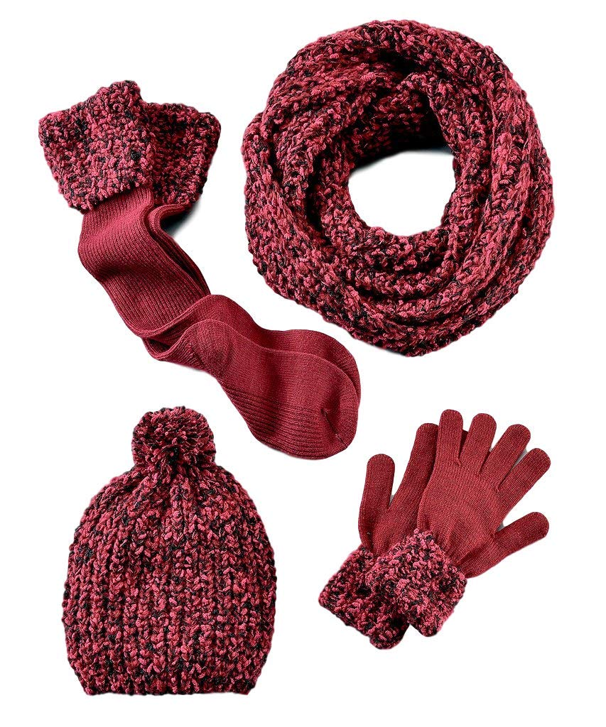 Four (4) Item Winter Set, Infinity Scarf, Mittens, Boot Cut Socks, Hat (Red)
