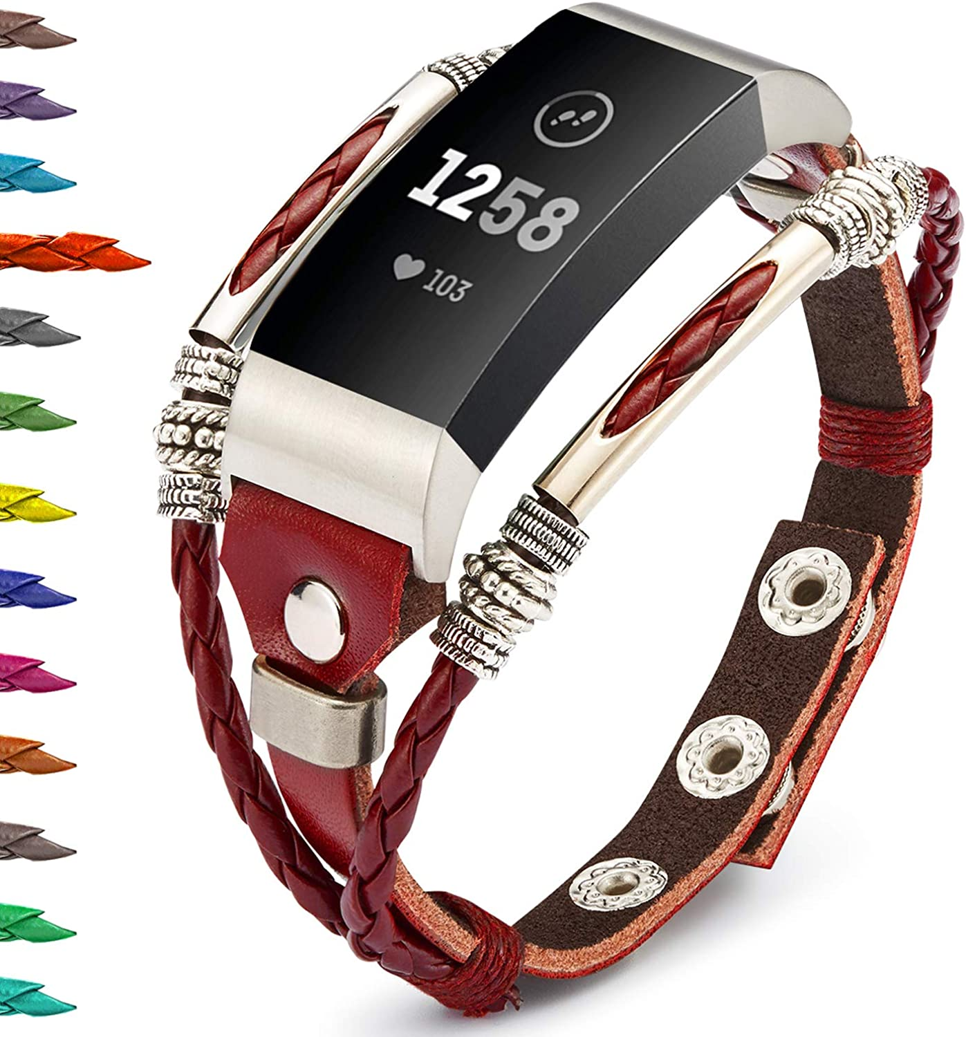 Charge 3 Charge 3 SE,Replacement Wristband Stainless Steel Bling Jewel Chain Band Strap Accessories Dressy for Women Bands for Fitbit Charge 4