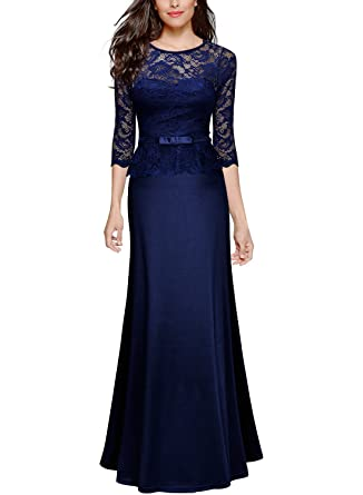 2a4591e2c65818 Miusol Elegant Damen Abendkleid 3/4 Arm Spitzen Kleid Brautjungfer Langes  Cocktailkleid Navy Blau Gr