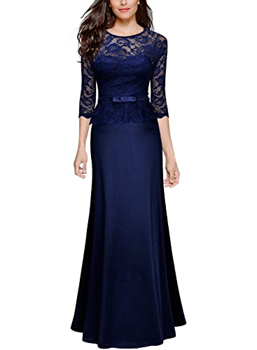 Miusol Women's Retro Floral Lace 2/3 Sleeve Slim Peplum Bridesmaid Long Dress