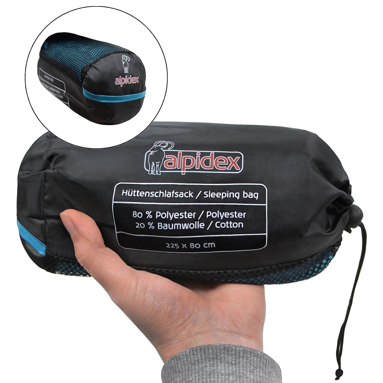 ALPIDEX Polycotten H/üttenschlafsack Reiseschlafsack Innenschlafsack Rechteckform Schlafsack Inlett Herbergsschlafsack Sommerschlafsack Inlay Liner