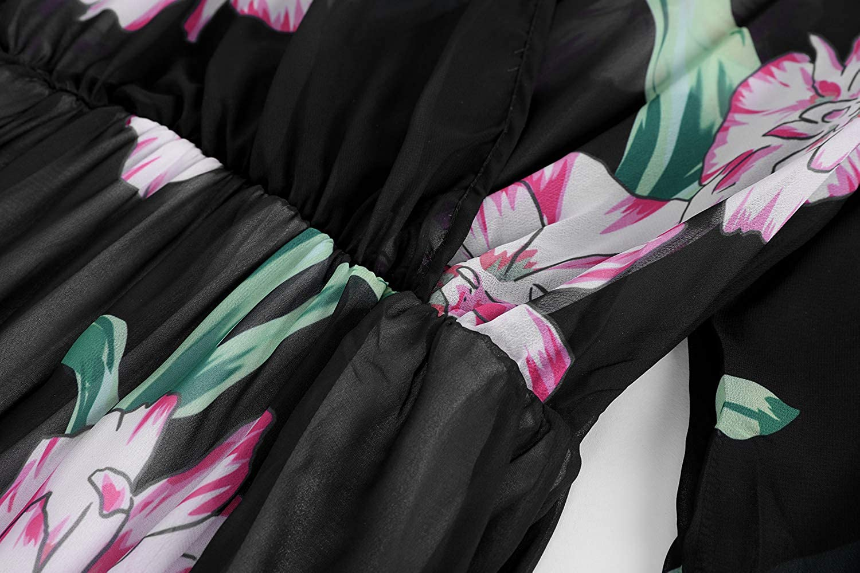 Bbalizko Womens Summer V Neck Long Sleeve Floral Printed Chiffon Long Maxi Dresses