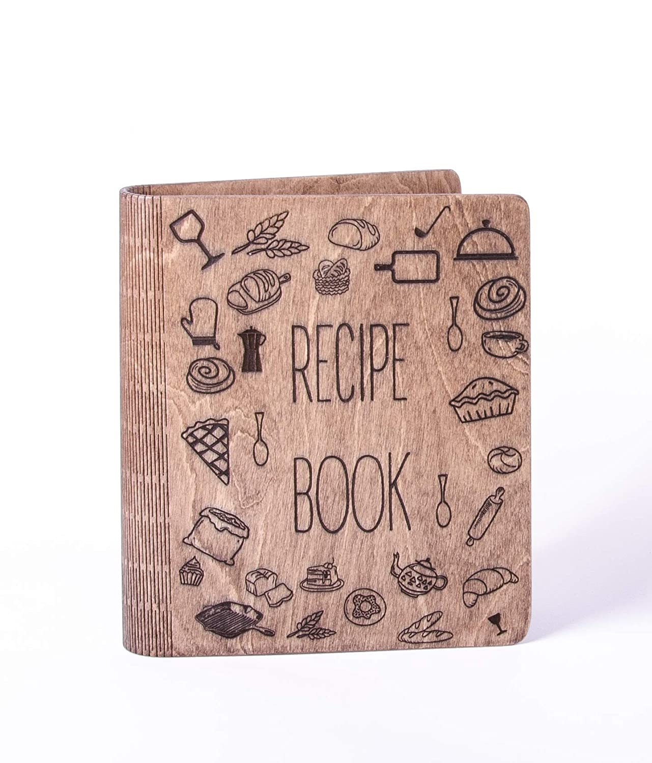 Wooden Recipe Book Notebook with recipe pages Kitchen Print, cook ...