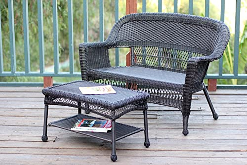 Jeco Wicker Patio Love Seat and Coffee Table Set without Cushion, Espresso