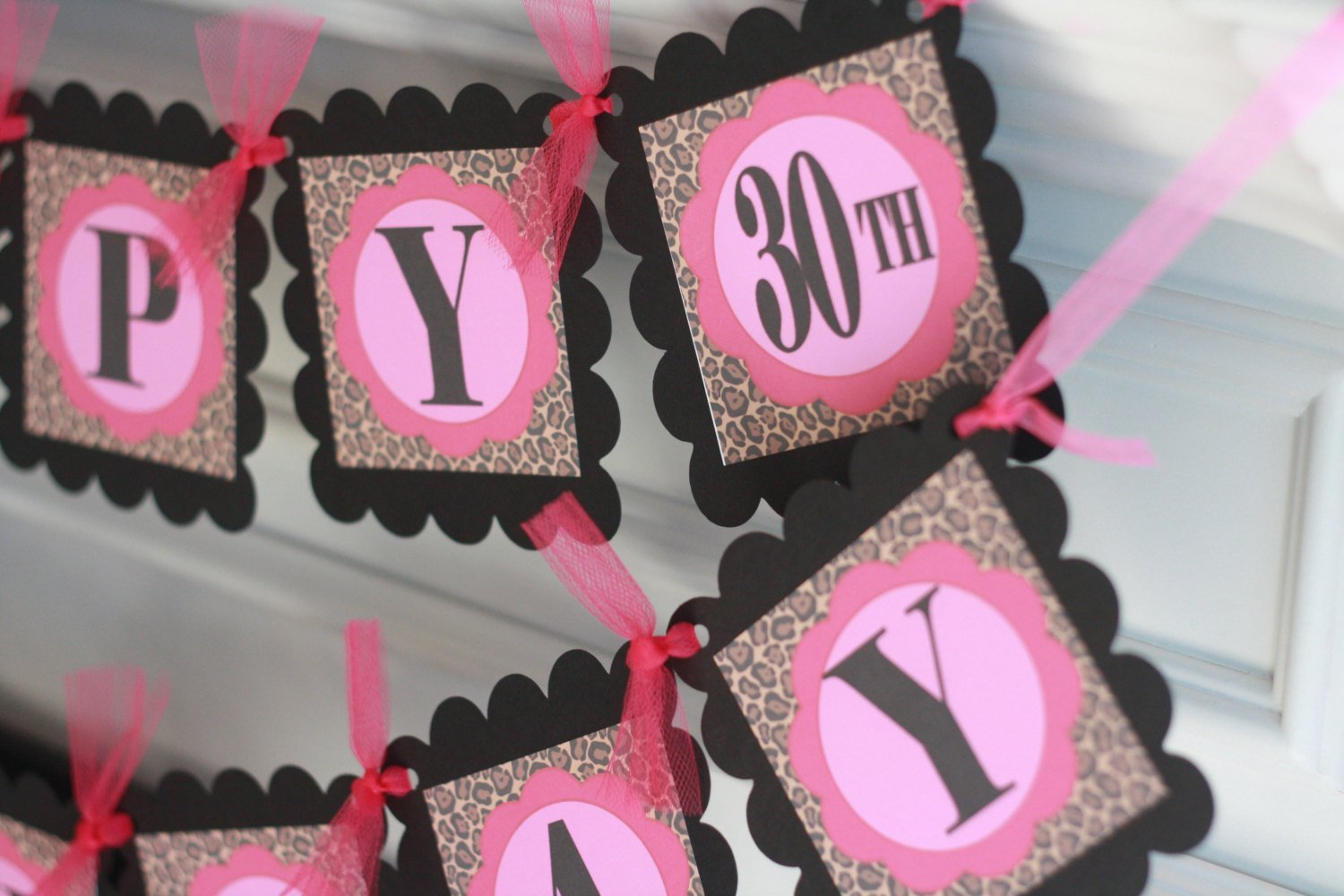 Happy 21st 30th 40th 50th 65th Birthday Hot Pink/Black, Red/Black or Coral/Black Leopard Happy Birthday Theme Banner