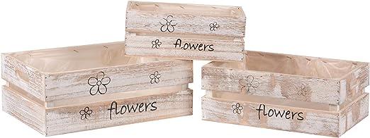 Nature by Kolibri - Juego de 3 cajas de madera con diseño de flores, color blanco lavado, 3 tamaños, decoración y almacenamiento con lámina impermeable: Amazon.es: Jardín