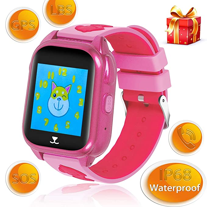Kids Smartwatch GPS LBS IP68 Waterproof SOS Call Camera 1.44 Inch LCD Sound Guardian (Pink)