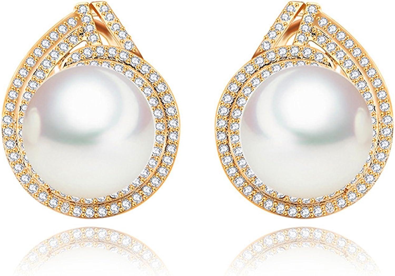 Beydodo Pendientes Chapado en Oro Pendientes Perla Pendientes de Mujer Pendientes Cristal Murano Pendientes Oro Blanco