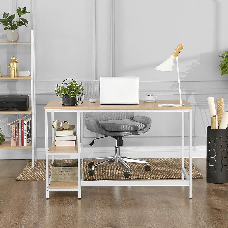 PC-Tisch mit 2 Regalebenen wahlweise rechts oder links modern B/ürotisch f/ürs Wohnzimmer einfache Montage mit Metallgestell Computertisch VASAGLE Schreibtisch mit Holzmaserung LWD47N