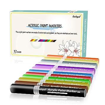 Eachgoo 12 colores Rotuladores Acrilicos Para Dibujo,Pintura,Colorear en vidrio, Tela,