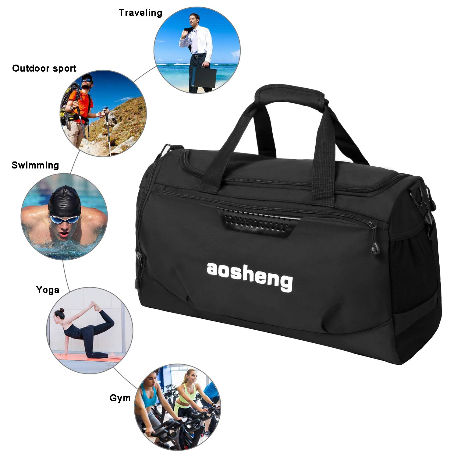 CGBOOM Gym Bag Travel Duffles Bag with Separate Shoe Compartment, Mens Sports  Bag Overnight Holdall larger image a66207599a