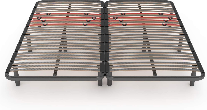 LA WEB DEL COLCHON Somier Multiláminas Regulador (*) 210 x 200 (2 ud. 105x200) x 5 cms. (14 Patas Incluidas)