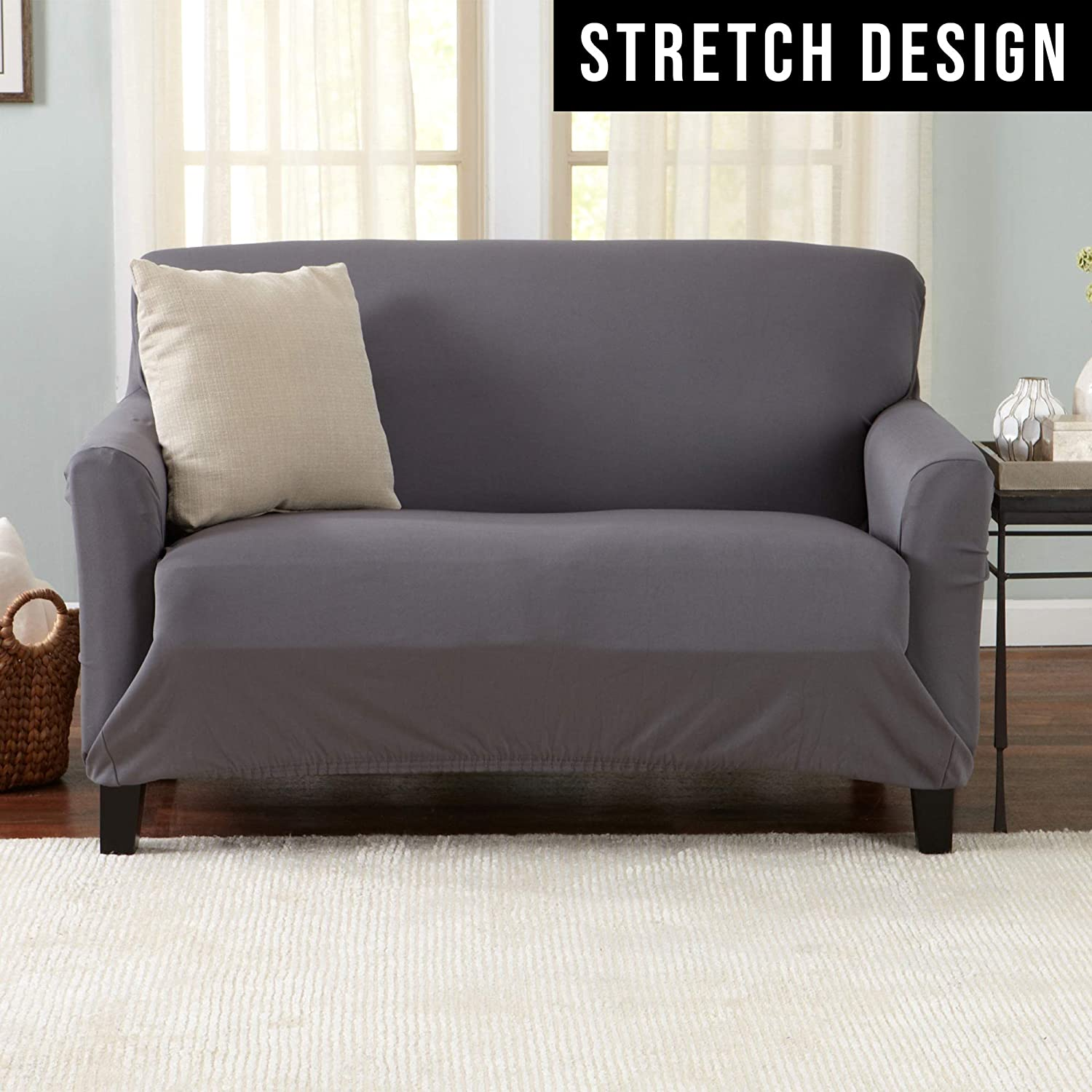Home Fashion Designs Printed Twill Love Seat Slipcover One Piece Stretch Loveseat Cover Strapless Love Seat Cover for Living Room Love Seat, Smoke Blue Brenna Collection Slipcover./