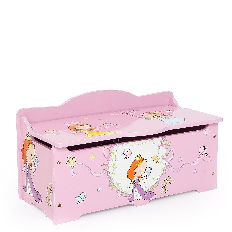 Homestyle4u niños de Juguete Caja de almacenaje con diseño de Princesas, Madera, 30 x 30 x 30 cm