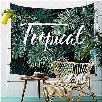 Dremisland palmera hojas tapiz colgante de pared decoración Bohemia Hippie toallas de playa verde Tropical Dream150 X 130 CM: Amazon.es: Hogar