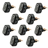 AutoEC 30 Amp 12 Volt Blue LED ON-OFF Rocker Switch Toggle Triangle Plug Switch For Car Motorcycle Boat Marine 10-pack