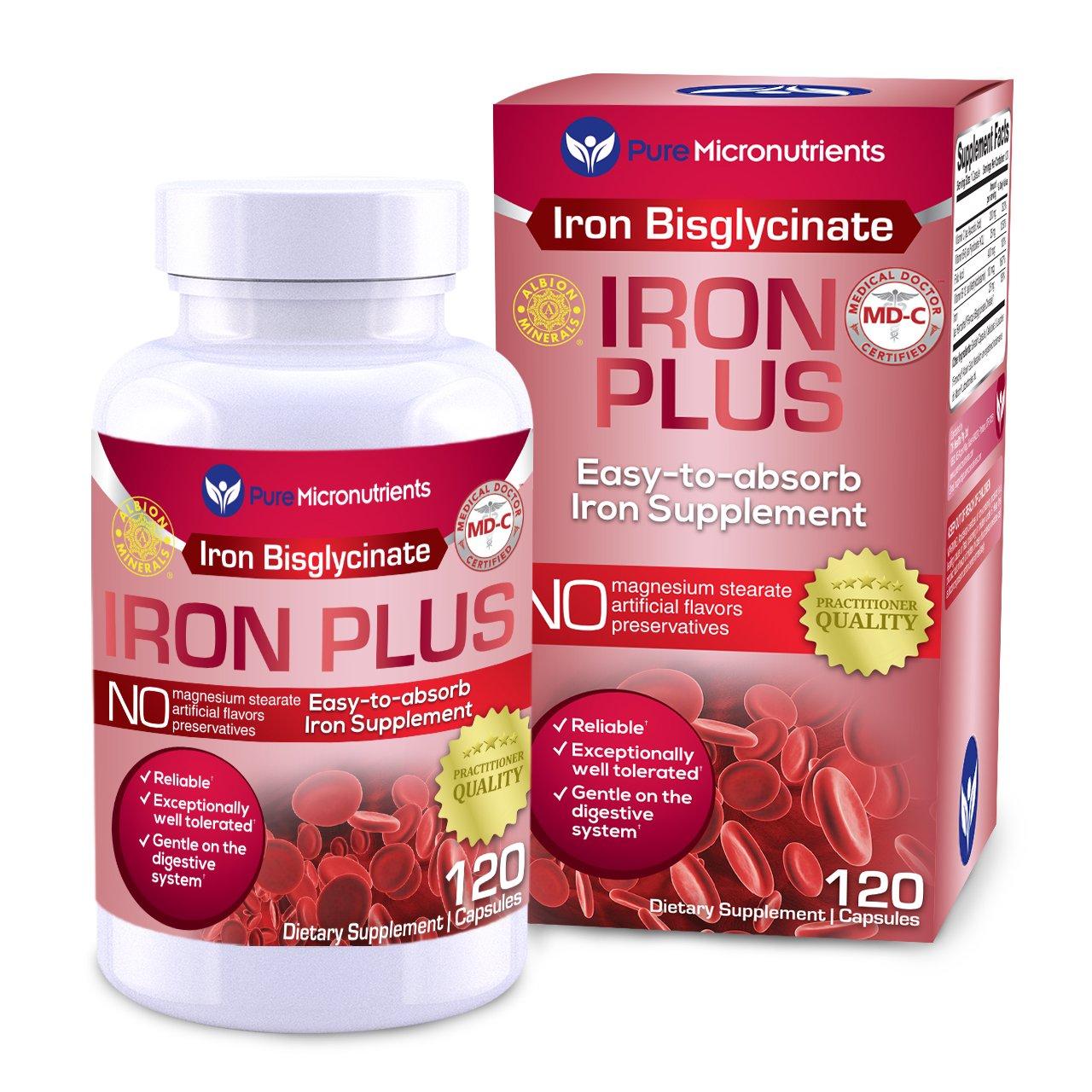 Pure Micronutrients Iron Plus Supplement, Natural Ferrous Chelate, Bisglycinate 25mg + Vitamin C, B6, B12, Folic Acid, 120 Count