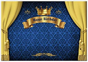 Allenjoy 7x5ft Royal Prince Birthday Party Backdrop for Photography 1st First Blue and Gold Curtain Crown Baby Shower Banner Boy's Kids Event Cake Table Decor Home Decoration Photo Booth Background