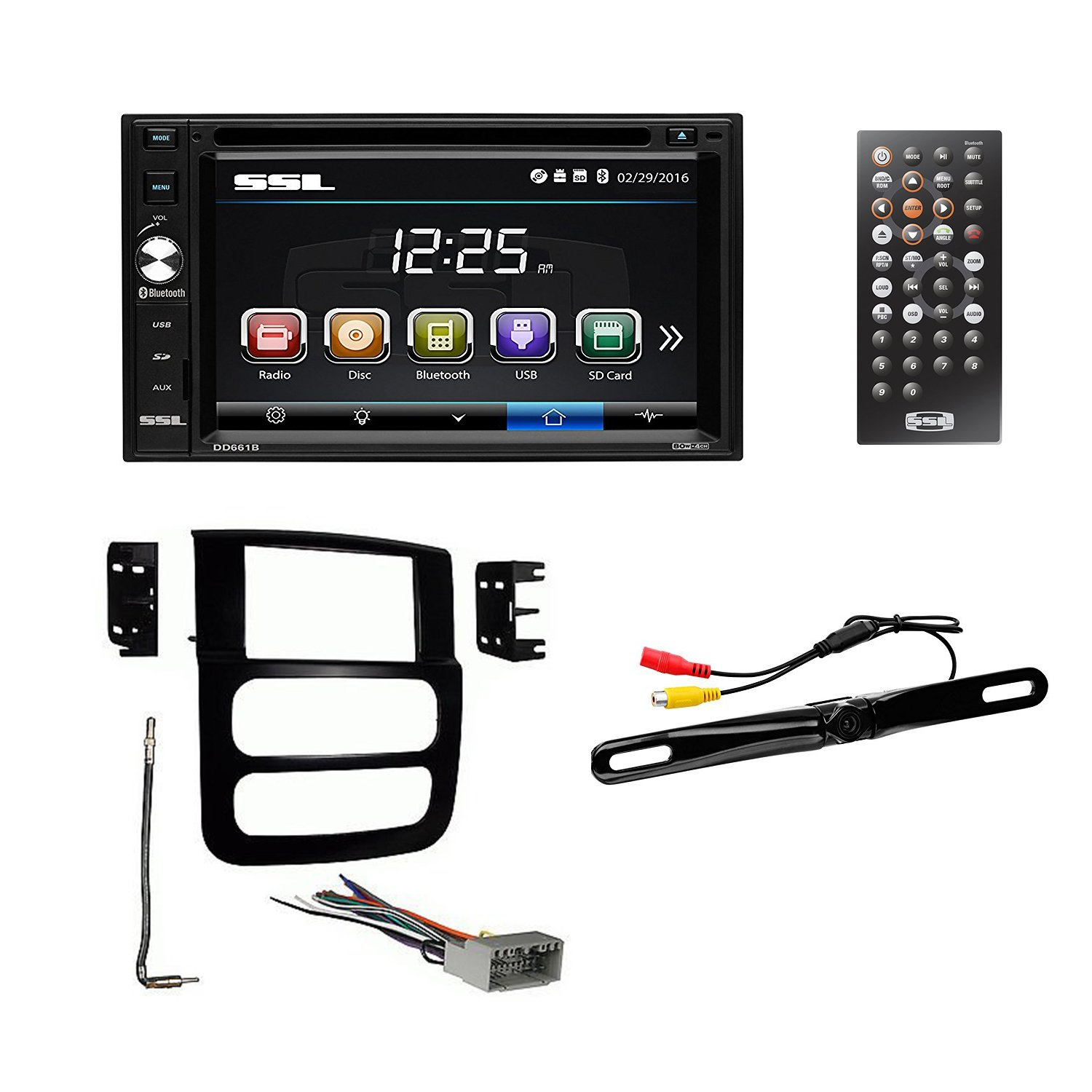2002-05 Dodge Ram Double-Din, 6.2'' Touch Screen Monitor, DASH KIT + WIRE HARNESS + RADIO ANTENNA ADAPTER + REAR VIEW CAM