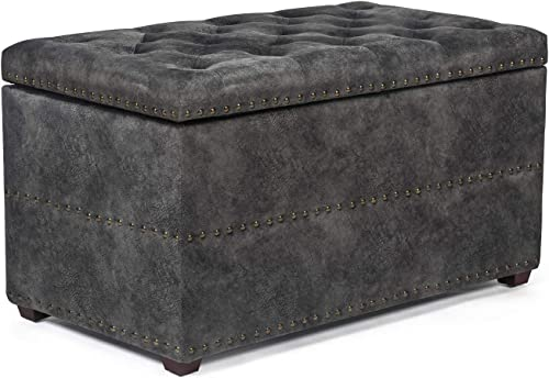 Adeco Fabric Storage Bench Ottoman Chair Footstool Cubic, Wood Legs, lid Storage, Nailhead Trim Rectangular, Dark Gray