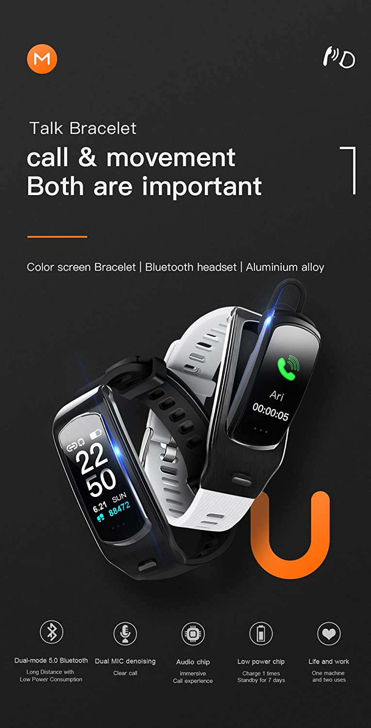 PGTC Fitness Sport Smartwatch Bluetooth Headset with Heart Rate Monitor, Blood Pressure Test Smart Talkband Calorie Counter Pedometer Watch for ...