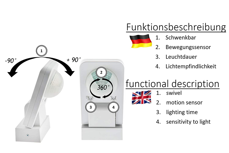 Clase de protecci/ón IP65 Detector de Movimiento de 360 /° 3 sensores y Lentes matriciales limitaci/ón de /área Montaje en Pared y Techo HUBER Motion 6