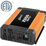 Ampeak 2000W Power Inverter 12V DC to 110V AC Car Inverter with 3 AC Outlets 2.1A USB Converter