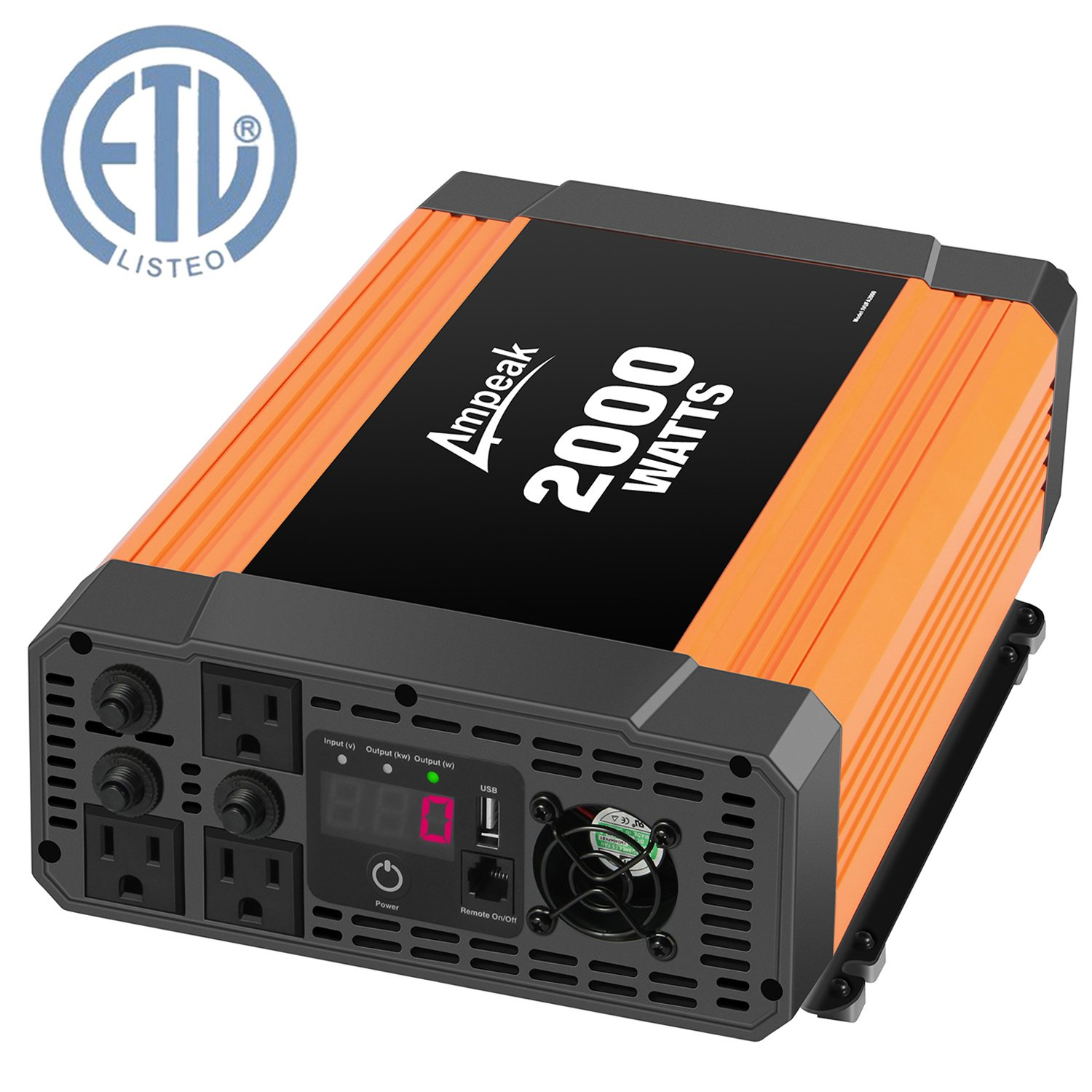Ampeak 2000W Power Inverter 12V DC to 110V AC Modified Sine Wave Inverter with 3 AC Outlets 2.1A USB Truck/RV/Car Inverter