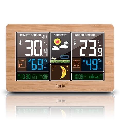FanJu FJ3378W Estación Meteorológica a Color con Cargador USB | Temperatura y Humedad Exterior en Interiores
