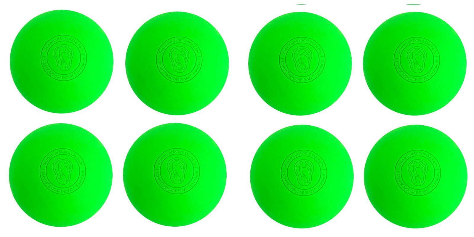 Signature Lacrosse Ball (8-Ball) Neon Green NOCSAE & SEI Approved Green-8P