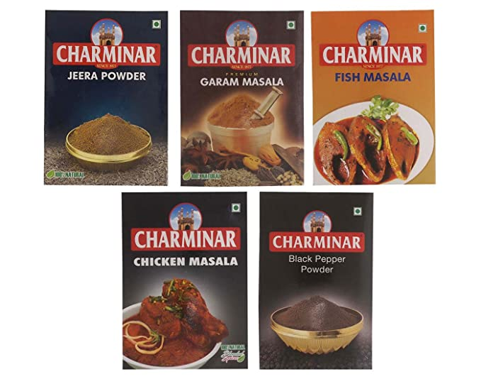 Sainik's Dry Fruit Mall Combo of Jeera Powder, Garam Masala, Fish Masala, Chicken Masala & Black Pepper Powder, 500 Gram